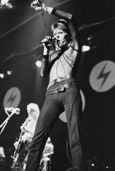 Ziggy Stardust on stage.