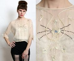 1920s Silk Blouse Embroidery by VeraVague on Etsy