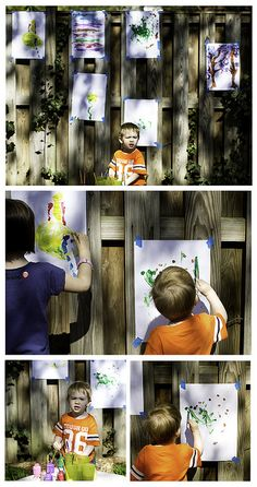 Backyard playdate: Create a backyard art gallery.
