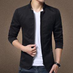 New Fashion Men Slim Cotton Washed Jacket-Black - intl | Lazada Singapore