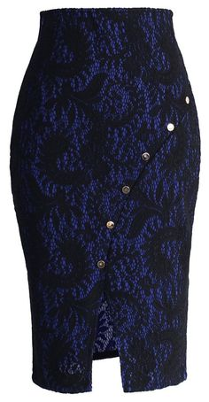 Midnight Blue Lace Pencil Skirt With Diagonal Line Of Button Trimming Work Skirts, Cute Skirts, Work Fashion, Fashion Outfits, Womens Fashion, Fashion Design, African Wear, African Fashion Dresses, Skirt Outfits