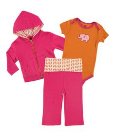 Take+a+look+at+the+Yoga+Sprout+Orange+&+Pink+Elephant+Hoodie+Set+on+#zulily+today!