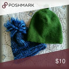 Unisex Handmade Hats Two handmade hats... the blue one has been worn and the green one has never been worn. Machine washable. Price is for both hats. Bundle and save! Handmade Accessories Hats