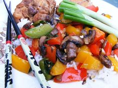 Stir-Fry Mushrooms and Bell Peppers from Food.com:   								This fast yet tasty colorful vegan dish is a hit with my picky vegetarian friend and non veg husband. I remember making several vegetarian dishes before and this was the one that had no left-overs.