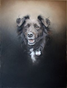 """Mela"" chalk pastel by Amy Little, contemporary London-based artist who creates portraits of rescue & shelter dogs"