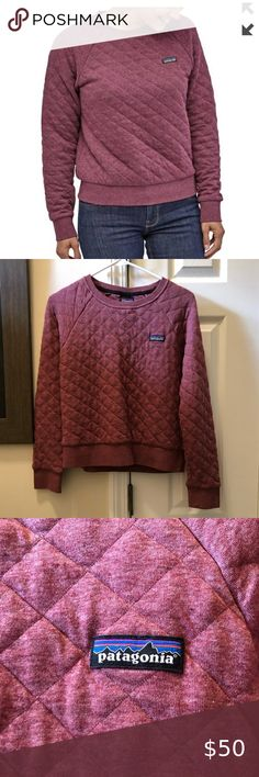 Patagonia quilted sweatshirt ✨ Crew neck sweatshirt with quilted design Pretty maroon color (light balsamic)  Excellent condition, worn twice Patagonia Tops Sweatshirts & Hoodies Maroon Color, Hoodies, Sweatshirts, Light Colors, Patagonia, Pink Purple, Crew Neck Sweatshirt, Pretty, Sweaters