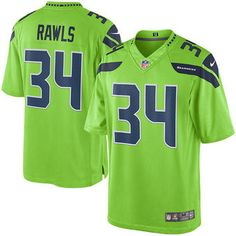 Seattle Seahawks #34 Thomas Rawls Green Color Rush Limited Jersey