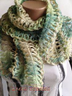 Crochet scarf Lime Handmade Hairpin Loom Handmade by ElenaVorobey