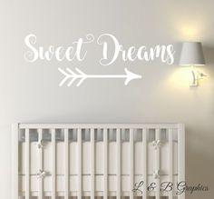 Sweet Dreams with Arrow-Vinyl Wall Decal-Nursery by landbgraphics