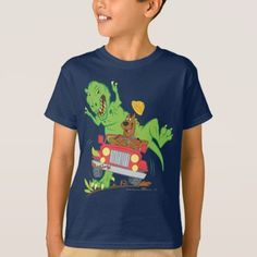 Scooby-Doo T-Rex Attack T-Shirt - Scooby and all the a gang! Boys T Shirts, Cute Shirts, Airbrush T Shirts, Dinosaur Shirt, Cartoon Dog, T Rex, Dog Design, Birthday Shirts, Baby Bodysuit