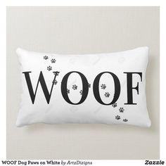 WOOF Dog Paws on White Lumbar Pillow