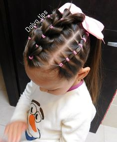 Pull throug braid Hairstyle with suspenders for girls. Pull throug bra Girls Hairdos, Cute Little Girl Hairstyles, Cute Girls Hairstyles, Kids Braided Hairstyles, Flower Girl Hairstyles, Ponytail Hairstyles, Toddler Hairstyles, Crazy Hair, Natural Hair Styles