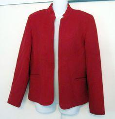 Talbots Red Wool Jacket Misses Size 10 Unlined Blazer Coat Medium #Talbots #Blazer