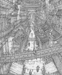 Nothing is more grand than Nature! Fantasy Landscape, Landscape Art, Fantasy Art, Arte Cyberpunk, City Drawing, City Sketch, Background Drawing, Indie Art, Unusual Art