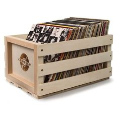 Crosley Radio Record Storage Crate ($39) ❤ liked on Polyvore featuring home, home decor, small item storage, backgrounds, filler, natural, wooden storage crates, record storage crate, storage crates and wooden crates