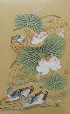 손유영의 민화이야기 Korean Painting, Chinese Painting, Korean Art, Asian Art, Japanese Patterns, Japanese Art, Oriental, Lotus Art, Tibetan Art