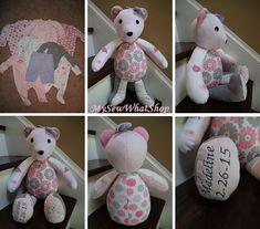 18 Memory Bear / Keepsake Bear from Baby Clothes by MySewWhatShop