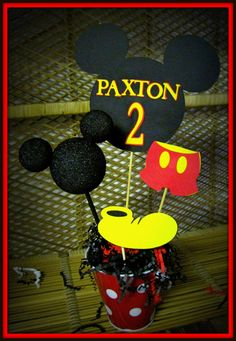 Mickey Mouse Birthday Decoration by eryacah on Etsy, $15.00  I however could make one no problem