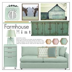 """""""Farmhouse Mint"""" by pat912 ❤ liked on Polyvore featuring interior, interiors, interior design, home, home decor, interior decorating, Crate and Barrel, CB2, Lacefield Designs and West Elm"""