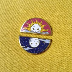 Sun and Moon Enamel Pins and Patches by... |