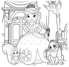 disney tangled coloring pages printable | Princess Sofia and Pets Coloring Book