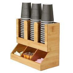 Mind Reader 6-Compartment Upright Coffee Condiment Organizer In Brown - This one piece Coffee Condiment Organizer from Mind Reader has 6 compartments that is a necessity for any break room or kitchen. Holds Sugars, creamers, stirrers, napkins, tea bags, cups, lids and more. Durable, compact design. Coffee Shop, Break Room, Wood Crafts, Wood Projects, Woodworking Projects, Diy Furniture, Organization, Decoration, Chicken Tacos