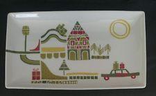 "Crate & Barrel Julia Rothman Christmas Yule Town Tray Platter Plate Dish 10"""