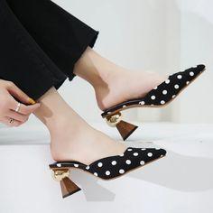 [leggycozy] Korean Fashion Polka Dot Pattern Pointed Toe High Heels Mu High Heel Mule Shoes, Platform High Heels, Mules Shoes, Heeled Mules, Shoes Heels, Flats, Trendy Sandals, Salsa Shoes, Kawaii Shoes
