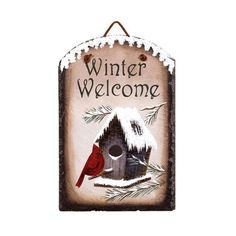 Cardinal Winter Welcome Slate – Baubles-N-Bling