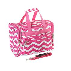 16 Pink  White Chevron Print Carry On Duffle Bag ** This is an Amazon Affiliate link. You can get more details by clicking on the image.