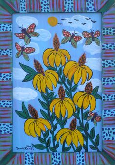 Sarah Rakes  Coneflowers And Moths