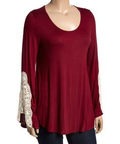 Another great find on #zulily! Burgundy Embroidered-Sleeve Swing Top - Plus #zulilyfinds
