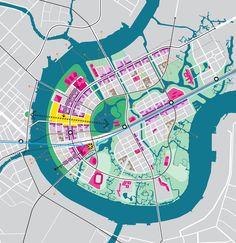 Master Plan of District 2 (Thu Thiem / Ho Chi Minh City, Vietnam) Masterplan Architecture, Plans Architecture, Landscape Architecture Design, Architecture Portfolio, Architecture Diagrams, Architecture Posters, The Plan, How To Plan, Urban Design Diagram