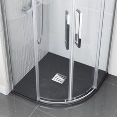 Quadrant Slate Effect Shower Tray & Chrome Waste Small Shower Tray, Black Shower Tray, Walk In Shower Tray, Slate Shower, Small Bathroom With Shower, Small Showers, Bathroom Ideas, Quadrant Shower, Changing Room