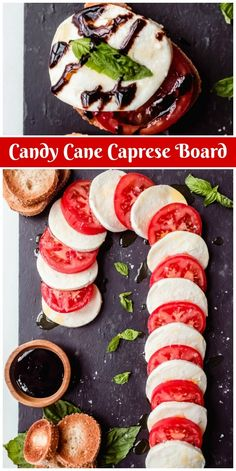 Cane Caprese Board recipe from Candy Cane Caprese Board recipe from Candy Cane Caprese Board - Such a cute board for holiday entertaining!Candy Cane Caprese Board recipe from Candy Cane Caprese Board - Such a cute board for holiday entertaining! Christmas Party Food, Xmas Food, Christmas Brunch, Christmas Cooking, Christmas Desserts, Xmas Dinner, Christmas Drinks, Food For Christmas, Christmas Food Ideas For Dinner Meals
