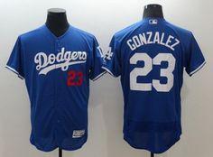 Dodgers 23 Gonzalez Blue jersey