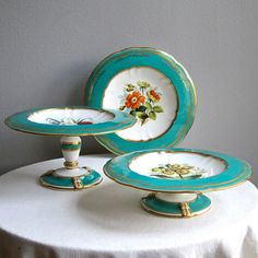 English Porcelain Partial Dessert Service Botanical Flowers Green Ground circa 1840 Cake Stand Footed Plate Tazza