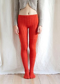 tangerine knitted tights - pattern by Mel Clark
