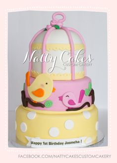 © Natty Cakes Custom Cakery   Sweet Tweet Birdcage Birthday Cake