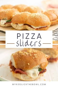 These pizza sliders are so quick to make, fun to eat and the perfect quick lunch for kids. Check out this easy recipe the whole family will love! Healthy Homemade Snacks, Healthy Meals For Kids, Kids Meals, Supper Recipes, Snack Recipes, Pizza Recipes, Pizza Slider, Breakfast Slider, Good Food