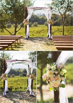 ceremony backdrop ideas - love the square wooden look with draping, perhaps with lace? not a fan of the big bunch of flowers, would personally like something that flows and is more organic