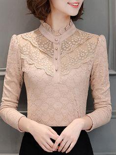 Buttoned Ruffled Long Sleeve Elegant Lace Blouse – Plus Size Fashion Blouse Styles, Blouse Designs, Hijab Fashion, Fashion Dresses, Kurta Neck Design, Vetement Fashion, Mode Hijab, Western Dresses, Elegant Outfit