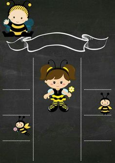 Baby Shower Niño, Baby Shower Themes, Chalkboard Signs, Chalkboards, Bumble Bee Birthday, Panda Party, Printable Invitation Templates, Print And Cut, Baby Cards