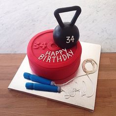 Fitness-Inspired Cakes, Because Fit Fanatics Love Cake, Too Happy Birthday cake for fitness lovers. 21st Birthday Cake For Guys, Sports Birthday Cakes, 25th Birthday Cakes, Bolo Crossfit, Fondant Cakes, Cupcake Cakes, Fitness Cake, Gym Cake, Cake For Husband