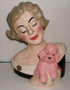Bust of Lady with Pink Poodle TV Lamp No Light | eBay