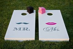 Mr. & Mrs. corn hole...cute! I think, with some help, I could figure out how to make these. And I'm pretty sure I could order the decals off ebay or something