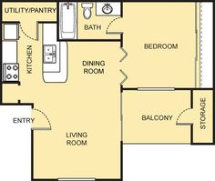 Picasso Floor Plan - 1 Bath with approximately 504 square feet. 2 Bedroom Floor Plans, Living Room Storage, Small Studio, Picasso, Square Feet, Bath, Flooring, How To Plan, Bathing