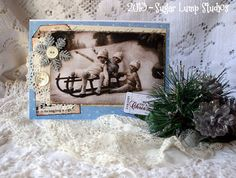 We Wish You a Merry Christmas HANDMADE Collage Greeting Card with vintage embellishments