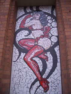 Manchester Affleck's Palace mosaic - Bettie Page  Art by Mark Kennedy