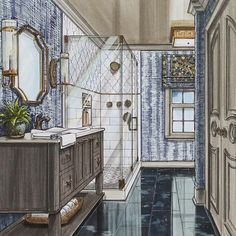 A gorgeous gentleman's bathroom in the Magnolia Designer Show House designed by Kandrac & Kole Interiors. #handrendering#interiordesign#reflectionfordays
